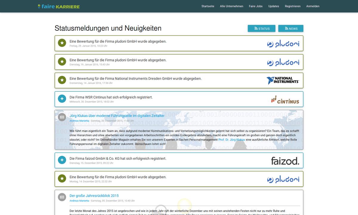Die neue News- und Updates-Seite auf Faire Karriere