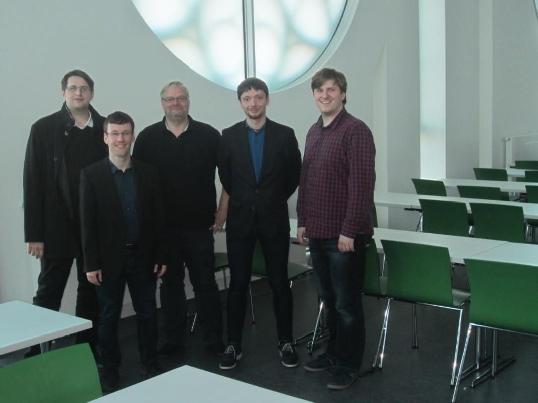 Die Köpfe der IT Ringvorlesung: Matthias Kricke (mgm); Martin Knoth (Gisa); Prof. Martin Bogdan; Hartmut Leister (ORsoft); Martin Grimmer (mgm)