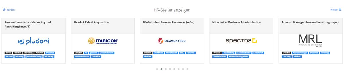 So sieht HRfilters HR-Stellenmarkt aus