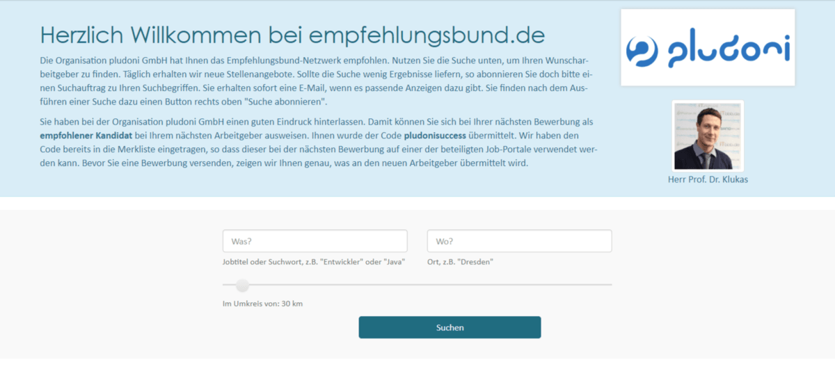 Beispiel Pludoni GmbH: Das sieht der Bewerber bei Klick auf einen SmartLink
