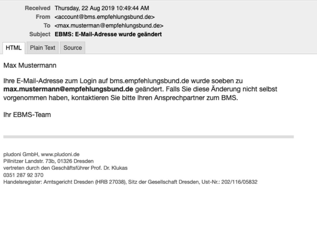 E-Mail bei Änderung des Nutzernamens