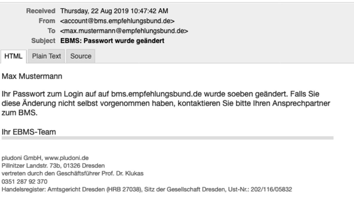 E-Mail bei Änderung des Passwortes