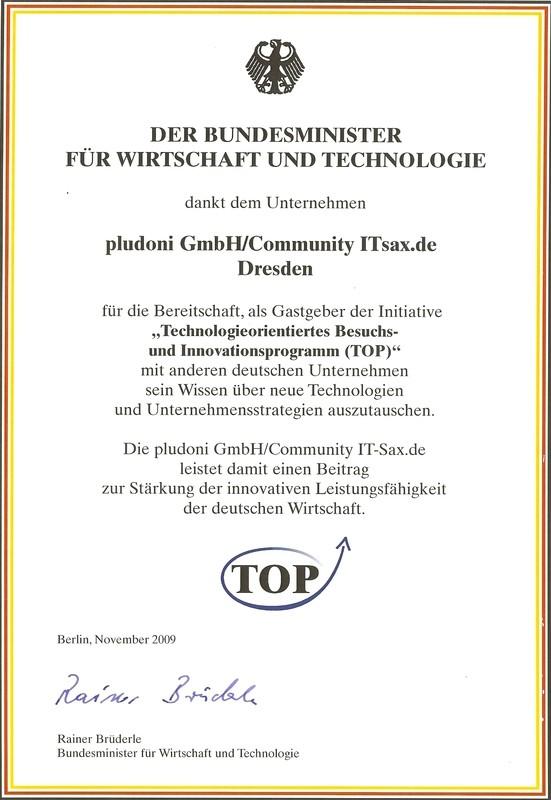 Unser TOP-Auszeichnung über pludoni